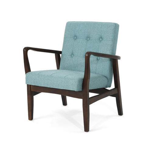 Marbellla Fabric Mid-Century Birch Club Chair