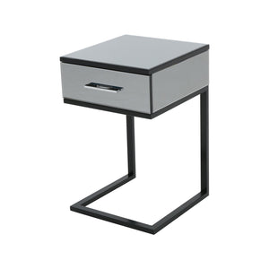 Hartly Modern Iron And Faux Wood Side Table With Tempe Glass Top