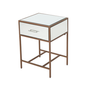 Kiersten Modern Iron And Faux Wood Side Table With Tempe Glass Top