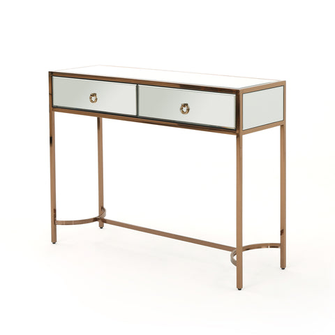 Arnell Modern Two Drawer Mirrored Console Table With Rose Finished Stainless Steel Frame