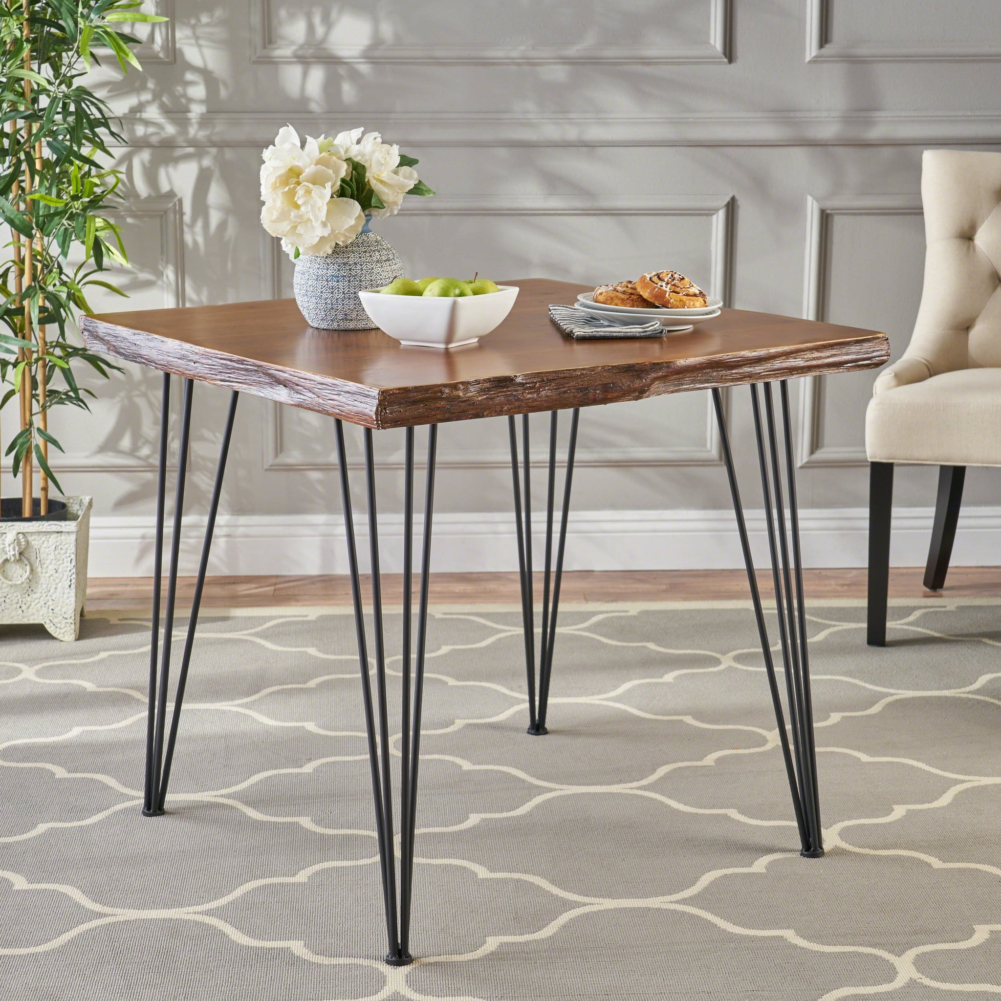 Chambers Industrial Faux Live Edge Square Dining Table