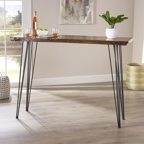 Chambers Industrial Faux Live Edge Rectangular Bar Table