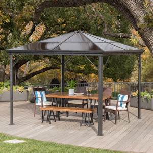 Bader Outdoor 10 X 10 Foot Aluminum Framed Gazebo With Hardtop (No Curtains)