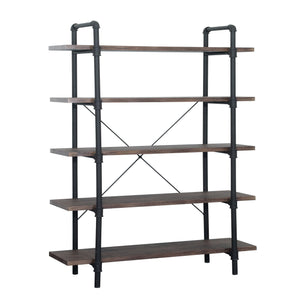 Kion Faux Wood Industrial 5 Tier Shelf