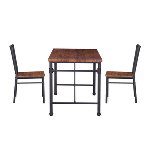 Balin Industrial Faux Wood 3 Piece Desk And Chairs Set