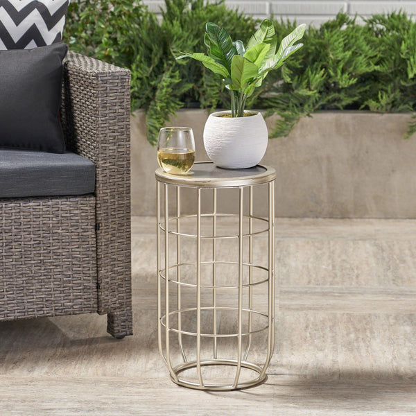 Lassen Outdoor 11 Inch Finish Ceramic Tile Side Table