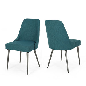 Allure Modern Fabric Dining Chairs (Set Of 2) | Color: Blue, Color: Teal, Teal: Color