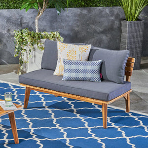 Balestier Outdoor Acacia Wood Loveseat