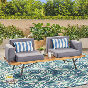 Candle Outdoor Acacia Wood 2 Seater Sofa