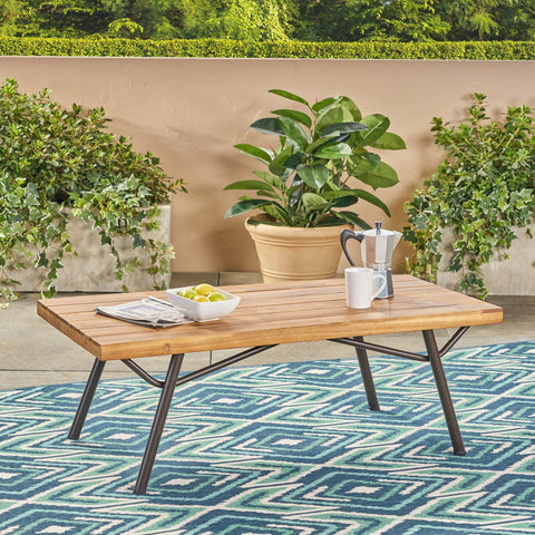 Candle Outdoor Acacia Wood Coffee Table