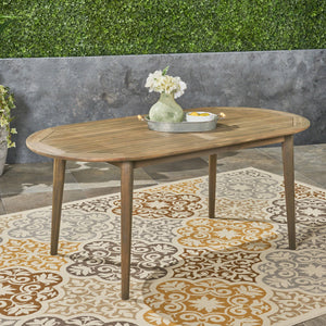 "St. Marta Outdoor 71"" Acacia Wood Oval Dining Table"