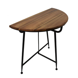 Liton Industrial Acacia Wood Half Round Table