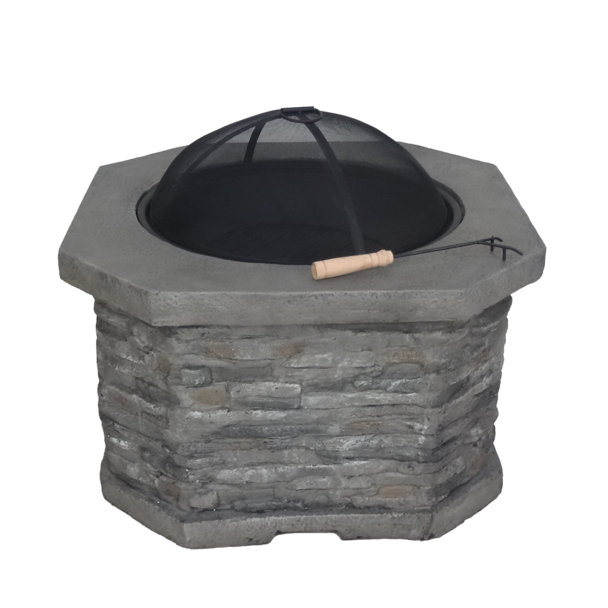 "Dervilla Outdoor 32"" Wood Burning Concrete Octagon Fire Pit"