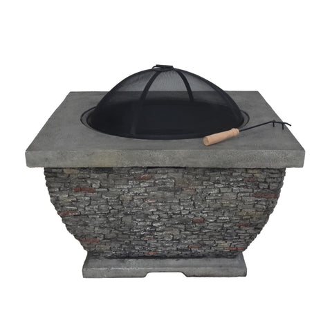 "Mesa Outdoor 32"" Wood Burning Concrete Square Fire Pit"