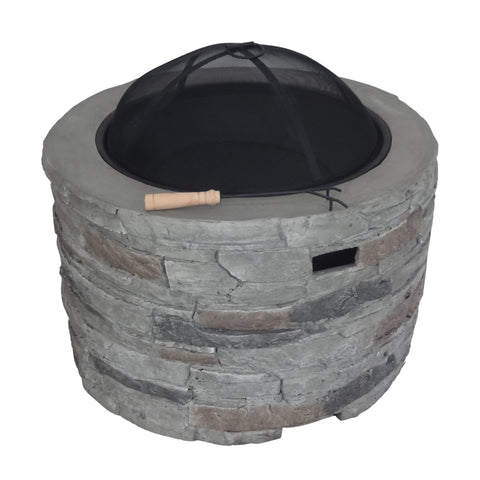 "Camden Outdoor 32"" Wood Burning Concrete Round Fire Pit"