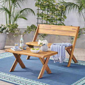 Dymnos Outdoor Acacia Wood Loveseat And Coffee Table Set