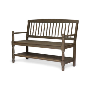 Ignatius Outdoor Acacia Wood Bench With Shelf