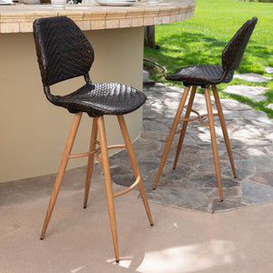Large Outdoor Wicker Barstools With Wood Finish Metal Legs (Set Of 2)