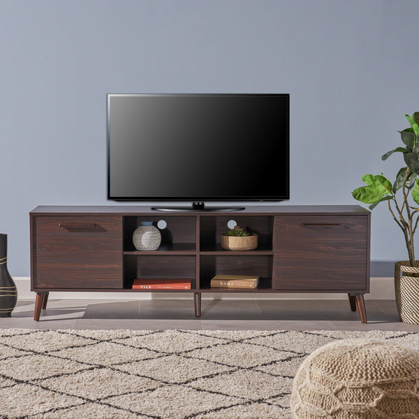 Domingo Mid Century Modern Faux Wood Overlay Tv Stand
