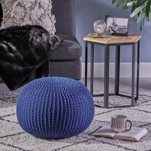 Abbrienna Knitted Cotton Pouf