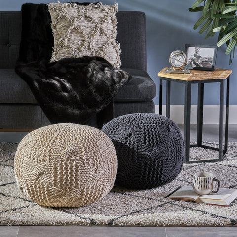 Anneliese Knitted Cotton Pouf