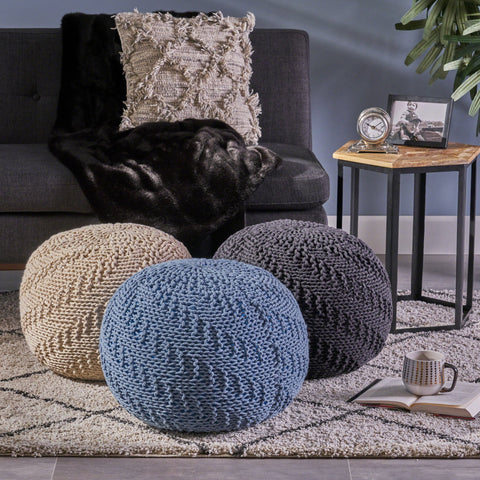 Hermie Knitted Cotton Pouf