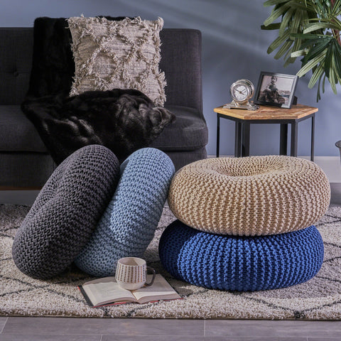 Evaline Knitted Cotton Donut Pouf
