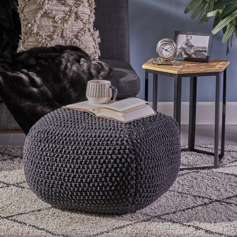 Hitchcock Knitted Cotton Square Pouf
