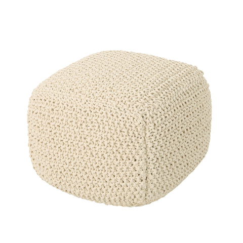 Pierce Knitted Cotton Pouf