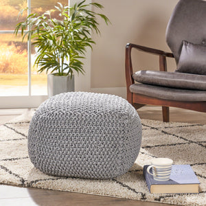 Figi Knitted Cotton Square Pouf