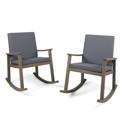 Campbell Outdoor Acacia Wood Rocking Chair (Set Of 2)