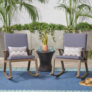 Chadney Outdoor Acacia Wood Rocking Chair (Set Of 2)