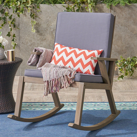 Chadney Outdoor Acacia Wood Rocking Chair