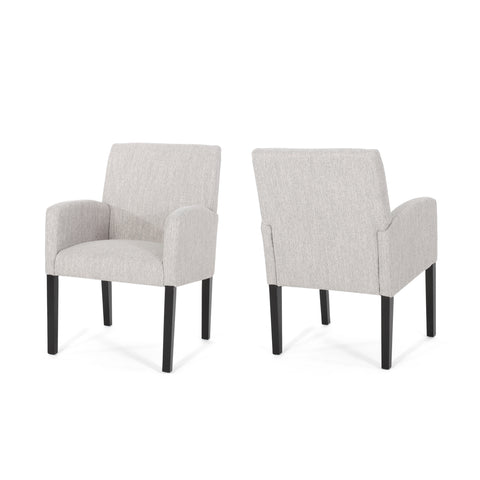 Harlan Contemporary Fabric Dining Chairs | Color: Gray, Color: Light Gray