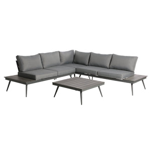 Nolan Outdoor Wood And Aluminum V-Shaped 5 Seater Sofa Set