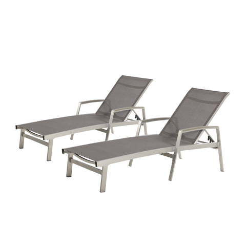 Oviedo Outdoor Mesh And Aluminum Chaise Lounge