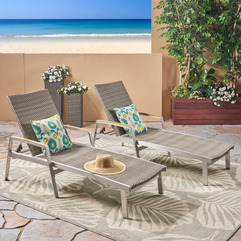 Oviedo Outdoor Wicker And Aluminum Chaise Lounge