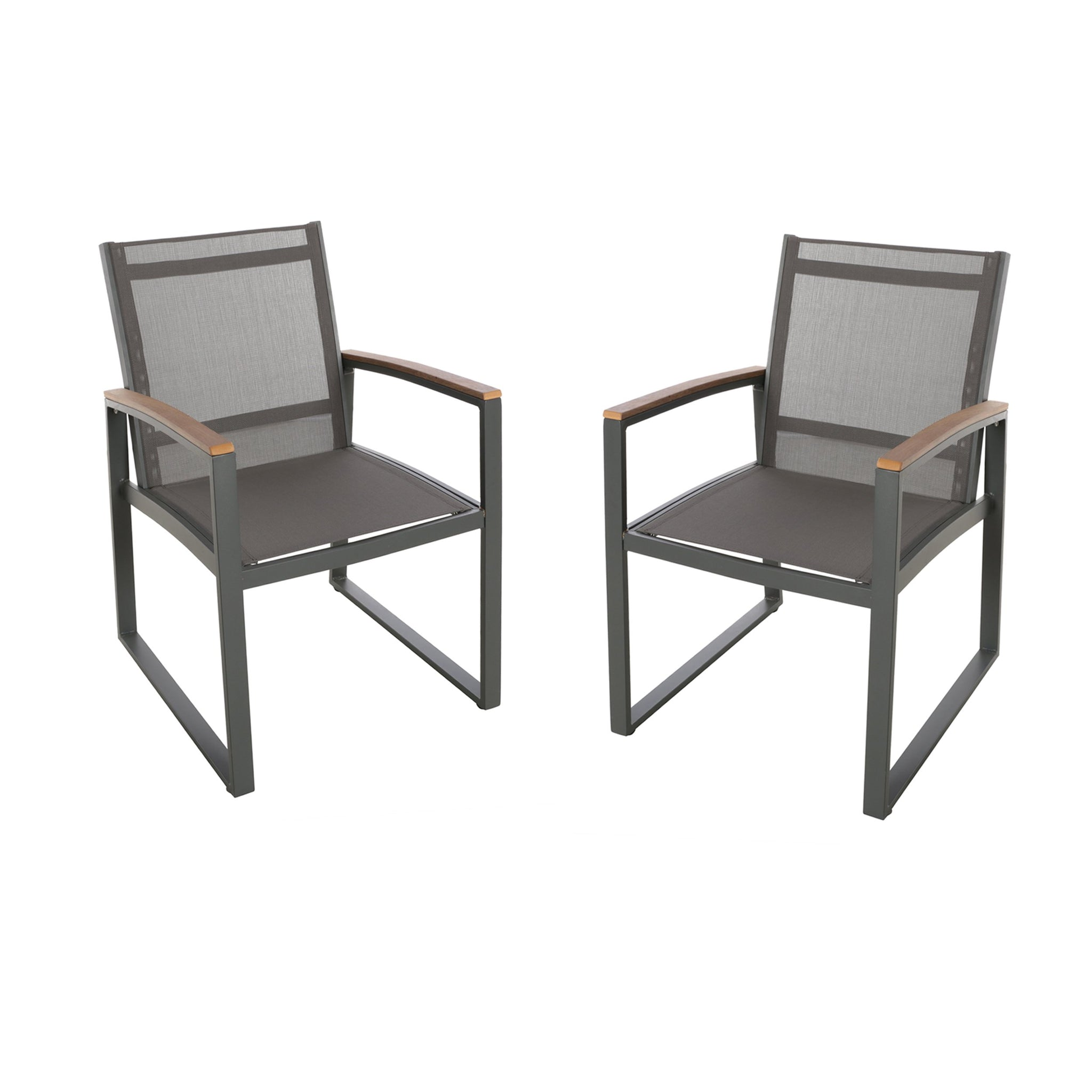 Glacier Outdoor Mesh Dining Chairs With Aluminum Frame (Set Of 2)