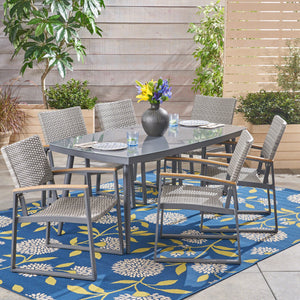 Malina Outdoor Aluminum And Mesh 7 Piece Dining Set With Glass Table Top