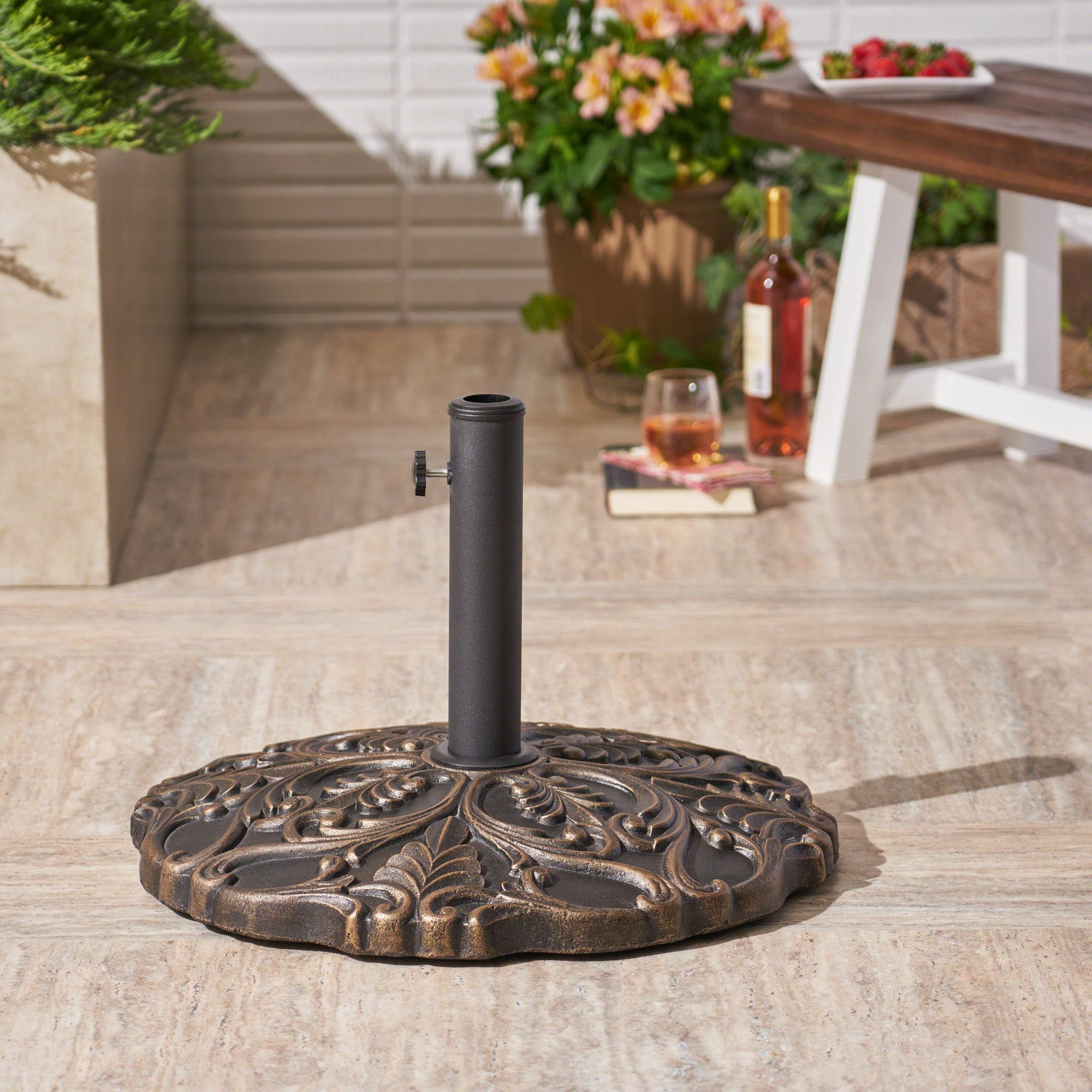 Callie Outdoor 66Lb Concrete Circular Umbrella Base