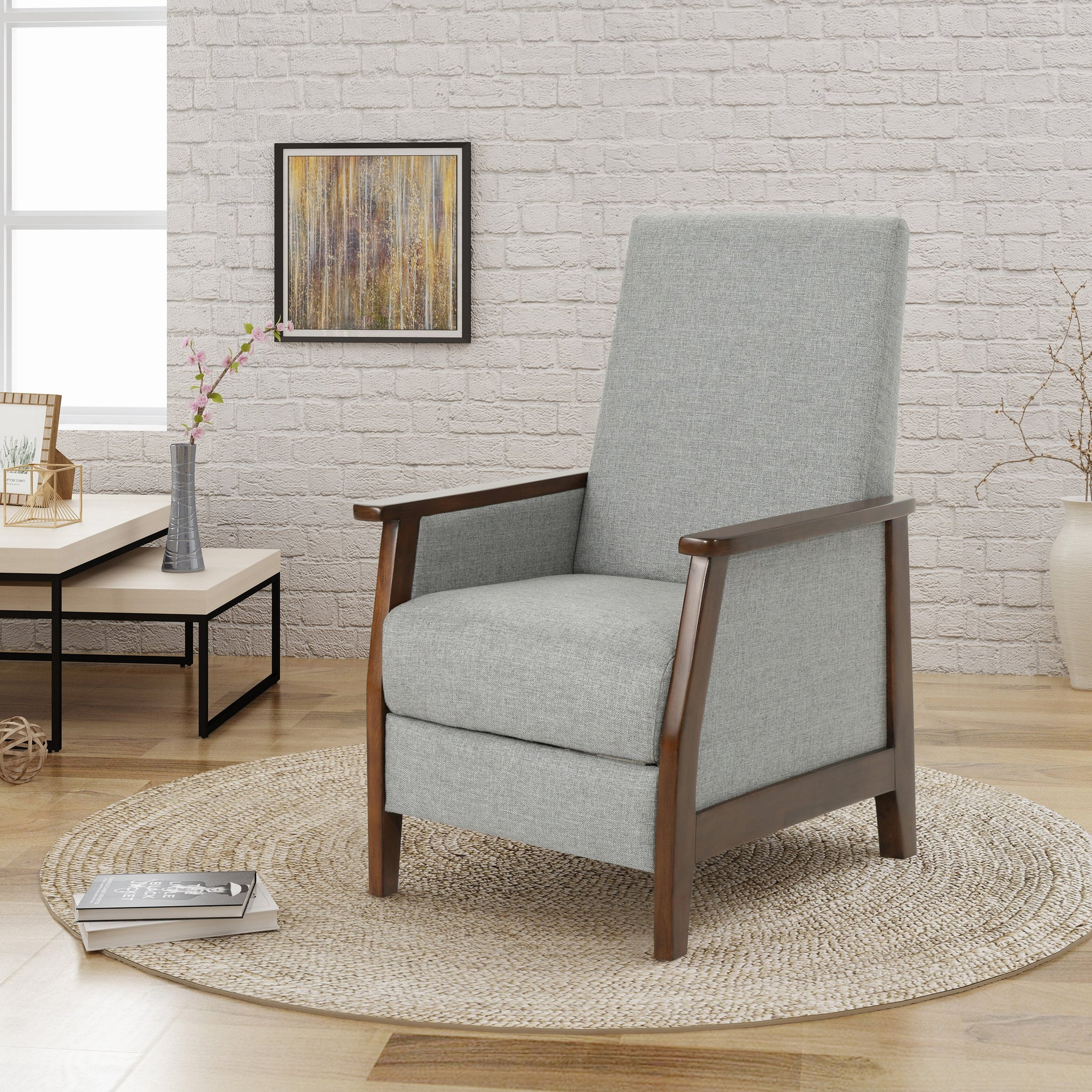 Mabel Exposed Wood High Back Fabric Push Back Recliner