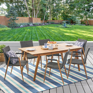 Pogba Outdoor 7 Piece Acacia Wood And Wicker Dining Set