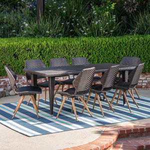 Cailee Outdoor 9 Piece Wicker Dining Set