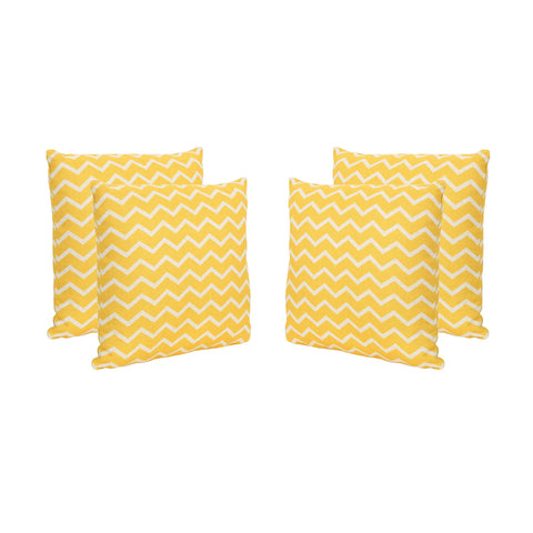 "Yorktown Lagoon Outdoor 18"" Water Resistant Square Pillows (Set Of 4)"