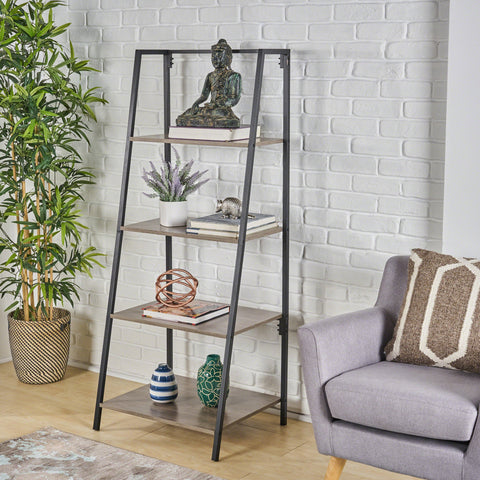 Estelle Industrial 4-Tier Faux Wood And Iron A-Frame Bookshelf