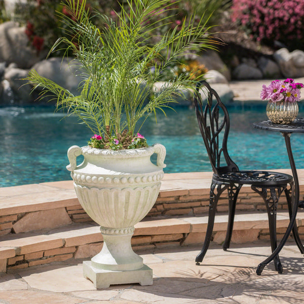 Alotian Outdoor 24 Inch Moss Finish Cast Stone Urn