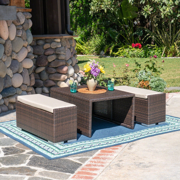 Santa Barbara Outdoor 3 Piece Aluminum Framed Coffee Table And Ottoman Set