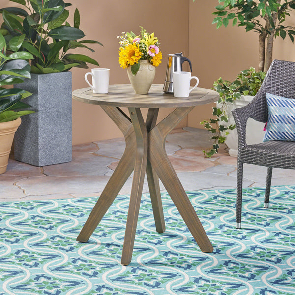St. Marta Outdoor Round Acacia Wood Bistro Table With X Legs