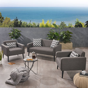 Alton Outdoor 3 Piece Upholstered Chat Set