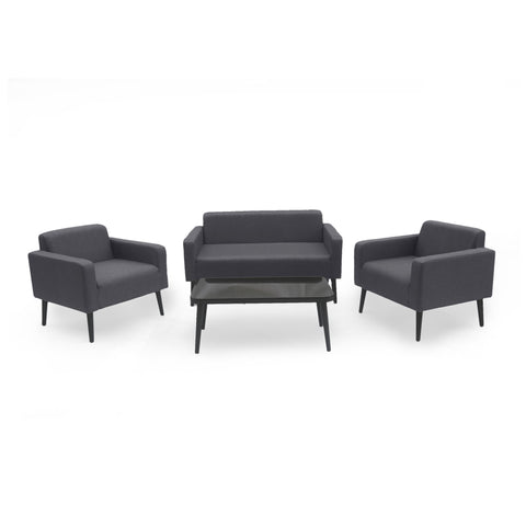 Alton Outdoor 4 Piece Upholstered Chat Set